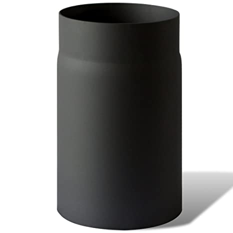 Anself - Tubo de estufa recto de acero para ventilación (Altura 25cm,Diámetro 15cm