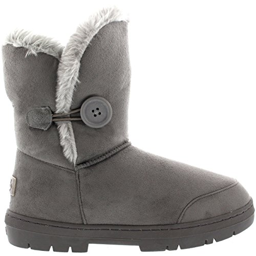 Womens Single Button Full Fur gefütterte wasserdichte Winter Schneeschuhe Grau