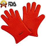 Chefaith Silicone Oven Mitts, Pot Holder for Cooking, Baking, Barbeque (BBQ), Cooking 5-Finger Protective Kitchen Gloves, Non-Slip Food Grade Silicone for Perfect Grip, Ultra Durable [Red]