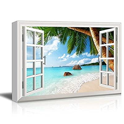Creative Window View Canvas Prints Wall Art - ANSE Lazio Beach on Praslin Island in Seychelles - 24