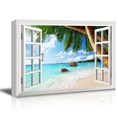 Creative Window View Anse Lazio Beach on Praslin island in Seychelles