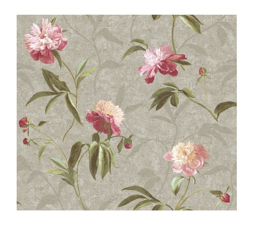 York Painted Garden (York Wallcoverings Painted Garden Peonies with Metallic Prepasted Wallpaper, Silver/Peony Pink)