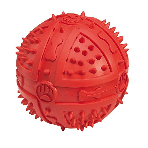 Grriggles Rubber Chompy Romper Ball Dog Toy, 3-3/4-Inch, Red