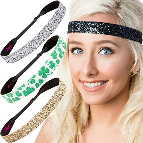 Hipsy Irish Green Headband St Patricks Day Accessories Clover Headband Gift Packs (Wide Silver/Peacock/Shamrock/Gold ()