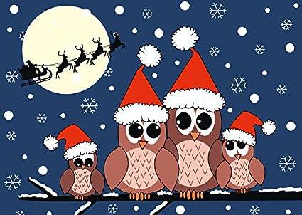 Búhos de Navidad Tarjeta