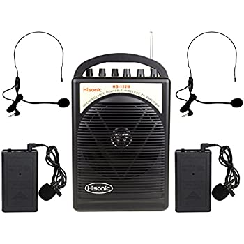 Hisonic HS122B-LL Portable Lithium Battery Rechargeable PA (Public Address) System with Dual Wireless Microphone System and Car Charger Cable, Black (2 Belt-Packs, Black)