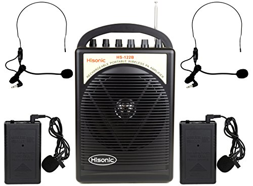 Hisonic HS122B-LL Portable Lithium Battery Rechargeable PA (Public Address) System with Dual Wireless Microphone System and Car Charger Cable, Black (2 Belt-Packs, Black) -