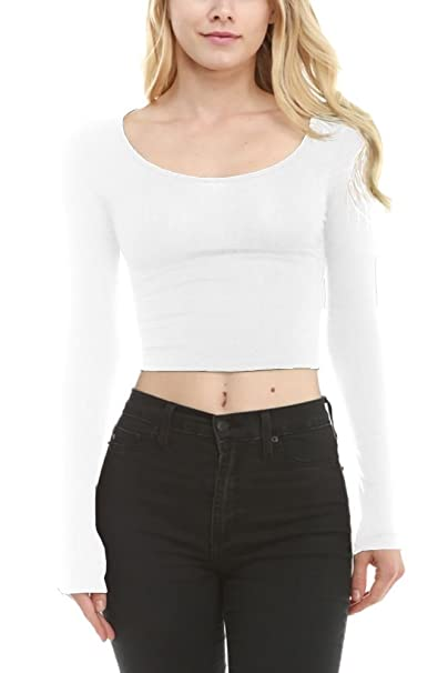 150165f1014 Small Medium Large Juniors Teens Fitted Tight Crop Top Lace Sexy Trendy  Knit Long Sleeve White