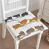 Egg Carton Sleeping Pad Chair Pads Squared Seat Vector Cats Sleeping Playing Smiling Design Charcoal Grey Marig and Cinnamon Outdoor Dining Garden Patio Home Kitchen Office 28