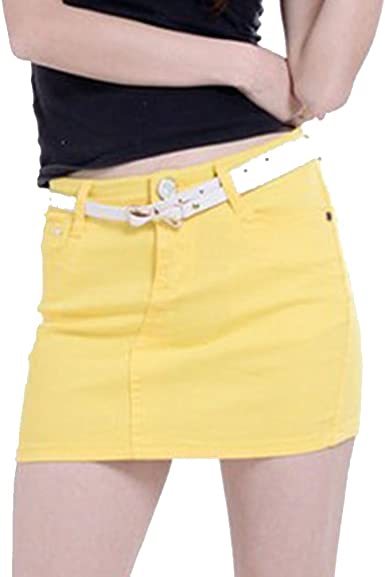 Cayuan Mujer Falda De Mezclilla con Bolsillo Mini Vaquera Faldas ...
