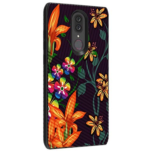 TurtleArmor | Compatible with Coolpad Alchemy Case | Coolpad Legacy Case | Slim Fitted Textured Embossed Lines Engraved Grooves Hybrid Hard Shell Case - Flower 4 (4g Iphone Flowers)