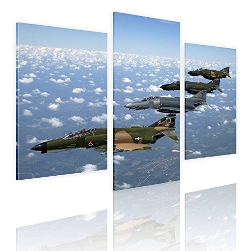 Alonline Art - Air Force Fighter Jet Split 3 Panels FRAMED STRETCHED CANVAS (100% Cotton) Gallery Wrapped - READY TO HANG | 36