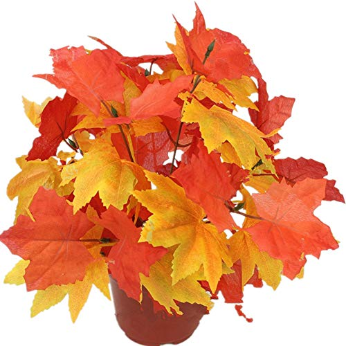 Crt Gucy 2PCS Artificial Shrubs Fake Fall Bushes Large Silk Autumn Maple Leaves - Leaf Autumn Bouquet