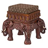 Design Toscano Maharajah Elephants Indian Decor Upholstered Footstool, 13 Inch, Polyresin, Woodtone