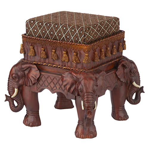 Design Toscano Maharajah Elephants Indian Decor Upholstered Footstool, 13 Inch, Polyresin, Woodtone ()