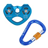Fenteer 30KN Professional Climbing Zip Line Cable Trolley Zipline Fast Speed Double Pulley + 25KN D Shape Carabiner - Mountaineering Hauling Hardware - CE Certified