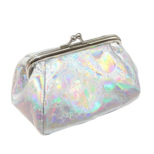 Inverlee Women Girls Reflector Laser Coin Purse Bag Shining Evening Wedding Party Handbag Wallet Bag Change Pouch Key Holder (Silver) ()