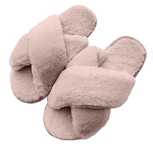 Jesse&Flower Winter-Warme Plüsch-Pantoffel-Frauen-Winter-Plüsch-Pantoffel für Mädchen-Ausgangsboden-Weiche Plüsch-Pantoffel-Innenanti-Beleg Baumwolle-Gepolstert
