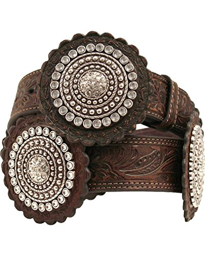 Nocona Women's Wide Large Rosettes Belt, Brown, S (Silver Concho Belt)