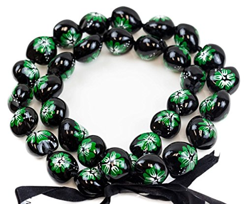 Barbra Collection Hawaiian Style Kukui Nut Hand Painted Necklaces 32 Nuts(Green Hibiscus - Kukui Lei
