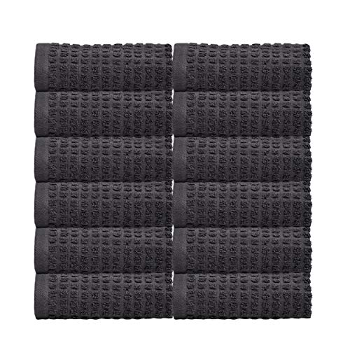 Glamburg Luxury Hotel & Spa Towels, 100% Pure Organic Cotton 12-Piece Wash Cloths Set - Oeko-TEX Organic + GOTS Certified + Ultra Soft, Contains 12 Wash Cloths 12x12 - Bathroom Towels - Charcoal