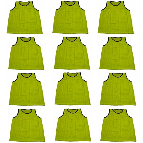 Mesh Training Bibs - Workoutz Adult Yellow Soccer Pinnies (Set of 12) Scrimmage Vests Mesh Bibs