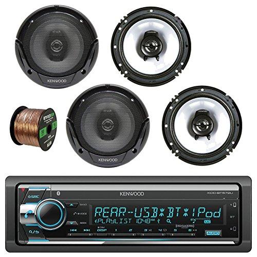 "Kenwood KDC-BT572U In Dash CD Player AM/FM Bluetooth Radio Stereo Receiver w/ Kenwood KFC-1665S 6.5"" Sport Series 2-Way Flush Mount Car Speakers (2-Pairs) & Enrock Audio 16G 50Ft Speaker Wire -  Kenwood - Enrock, KDCBT572U-KFC1665S-EB16G50FT-CCA"