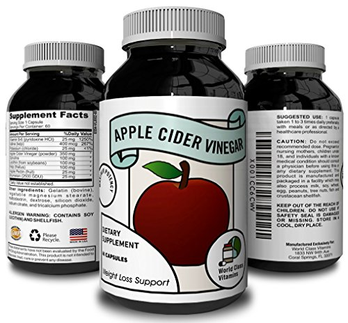 Apple Cider Vinegar Supplement – Pure Detox & Weight Loss Pills – Supports Digestion – Suppress Appetite & Boost Metabolism – Natural Apple Cider Vinegar for Men & Women – By World Class Vitamins