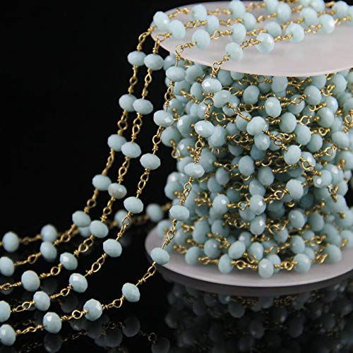 5 Feet lot Aquamarine Glass Faceted Rondelle Beaded Chains,Rosary Crystal Plated Gold Wire Wrapped Link Beads Chain by ()