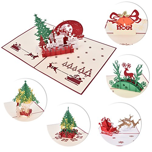 JUNKE 6 PCS 3D Pop-up Christmas Cards Xmas Gifts for Kids Christmas Galloping Reindeer/Santa/Reindeer/Snowman/Bells/Tree Blank Greeting Card for New Year Anniversary Christmas Card Kids