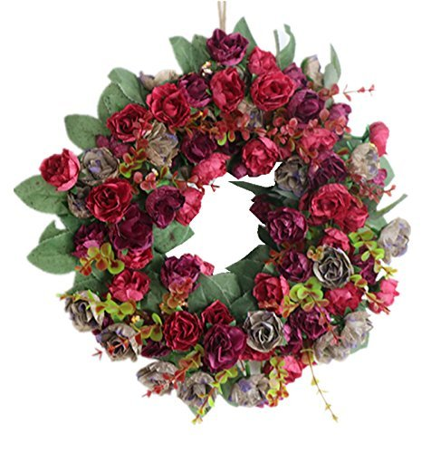 SIncek Rose Wreath Home Wall Decor Wedding Decorations ()