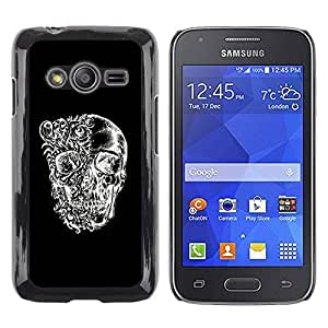 LECELL--Funda protectora / Cubierta / Piel For Samsung Galaxy Ace 4 G313 SM-G313F -- Skull Black White Floral Deep Meaning --