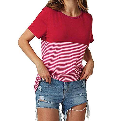 Womens Stripe Colorblock Short Sleeve Round Neck Blouse High Waist Shirt Tops
