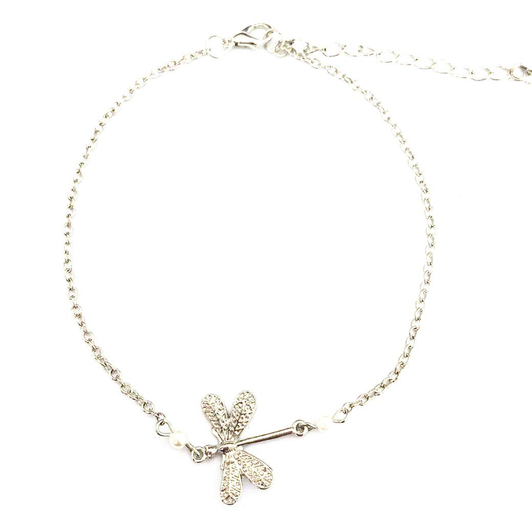 AFABE Women Ladies Animal Dragonfly Charms Anklets Bohemian Chain Beads Anklet Beach Bracelet