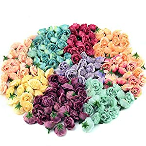 Luccaful 10pcs 3cm Mini Silk Artificial Rose Flowers Cloth for Wedding Party Home Room Decoration DIY Dress Accessories Fake Flowers 54