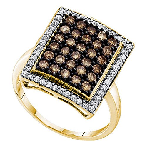 (10k Yellow Gold Brown Diamond Cocktail Ring Fashion Band Square Shaped Chocolate Cluster 1.00 ctw Size 6.5)
