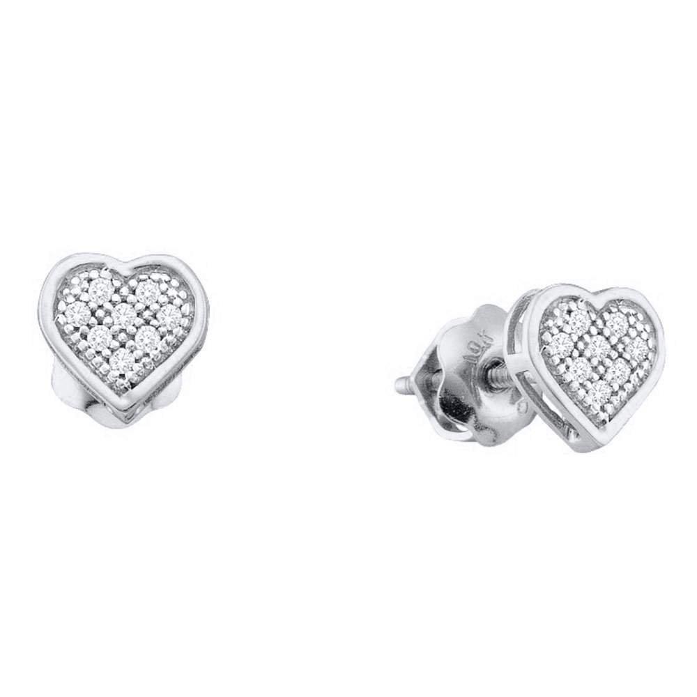 10kt White gold Womens Round Diamond Heart Cluster Screwback Earrings 1 20 Cttw