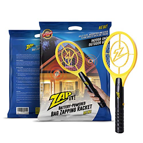 (ZAP IT! Bug Zapper - Battery Powered Mosquito, Fly Killer and Bug Zapper Racket - 4,000 Volt - Super-Bright LED Light to Zap in The Dark - Safe to Touch (Mini))