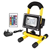 Ustellar 15W Rechargeable RGB LED Flood Light Portable, Wireless Outside Coloured Floodlight with Detachable Stand, 6000mAh 6-15 Hours, IP65 Waterproof, Dimmable Decorative Lighting for Outdoor Camping Fishing BBQ Party Stage, 16 Colours 4 Mode