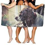 Bath Towel Soft Big Beach Towel 31''x 51'' Unique Soft Dog Window Pattern Design