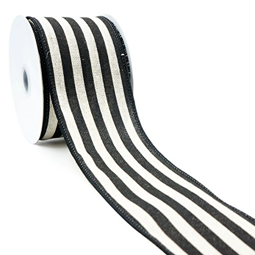 Canvas Ivory Stripe Black Wired-2.5 inch x 10yards for $<!--$11.99-->