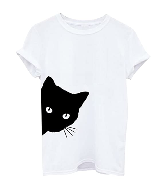 Ketamyy Mujer Impresión De Patrón De Gato Casual De Moda Camiseta ...