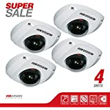 NEW! 4 Hikvision DS-2CD2510F Mini Dome Network Surveillance HD Camera 1.3 MP 1280X960, 4mm Lens, Poe, Vandal Proof, IP66 Weatherproof, H.264/MJPEG, Day/Night Auto Switch, Micro SD/SDHC/SDXC Card Slot