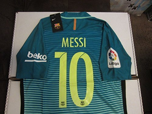 85fd773d0 Amazon.com   Nike Lionel Messi  10 FC Barcelona La Liga Club Champions  Patches Authentic Vapor Match Aeroswift Player Issue Version Small Green  Glow ...