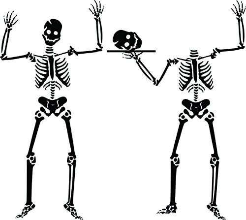 (Halloween Skeleton / 2 PACK / Black / Special Holiday Home Decor Wall Decal Graphic Window Art)
