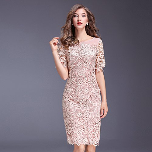 Pink Large Xuanku Women In Ms. Lace Gown Skirt Sau San Round-Neck Collar Short-Sleeved Dresses