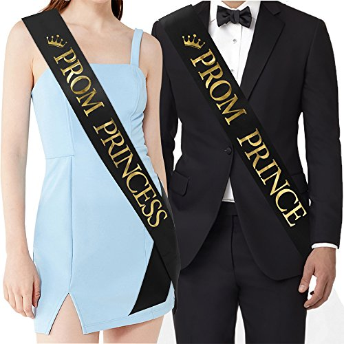 PROM PRINCE And PROM PRINCESS Sashes - Graduation Party School Party Accessories, Black with Gold Print