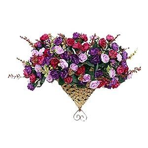 PANDA SUPERSTORE Hanging Fan Basket Simulation Flowers Handmade Vilot Camellia Artificial Flowers 38