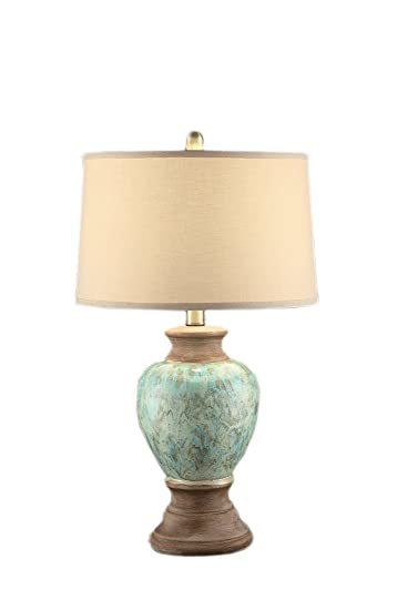 Crestview Lighting Hayden Table Lamp, Sea Blue And Clay Wash, 28.25u0026quot;H
