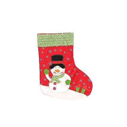 preliked Calcetín de Navidad con diseño de Papá Noel y muñeco de Nieve, Ideal,